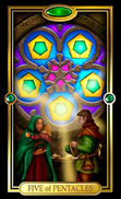 Picture of Five of Pentacles card from Easy Tarot kit
