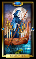 Picture of Six of Swords card from Easy Tarot kit