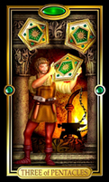 Picture of Three of Pentacles card from Easy Tarot kit