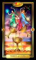 Picture of Three of Cups card from the Easy Tarot kit
