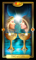 Picture of Two of Cups card from the Easy Tarot kit