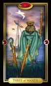 Picture of Three of Wands card from Easy Tarot