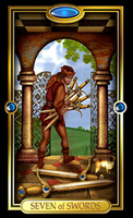 Picture of Seven of Swords card from Easy Tarot kit