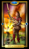 Picture of Five of Swords card from Easy Tarot
