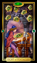 Picture of Eight of Pentacles card from Easy Tarot