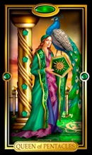 Picture of Queen of Pentacles card from Easy Tarot kit