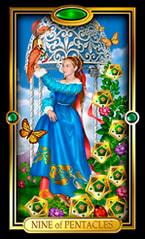 Picture of Nine of Pentacles card from Easy Tarot kit