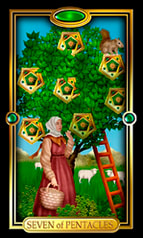 Picture of Seven of Pentacles card from Easy Tarot kit
