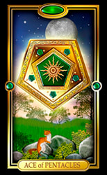 Picture of Ace of Pentacles card from Easy Tarot kit