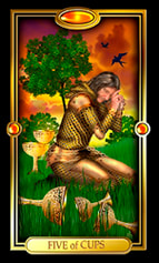 Picture of Five of Cups card from Easy Tarot kit