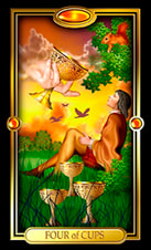 Picture of Four of Cups card from Easy Tarot kit